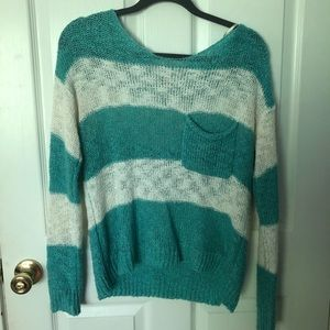 Blue and white sweater